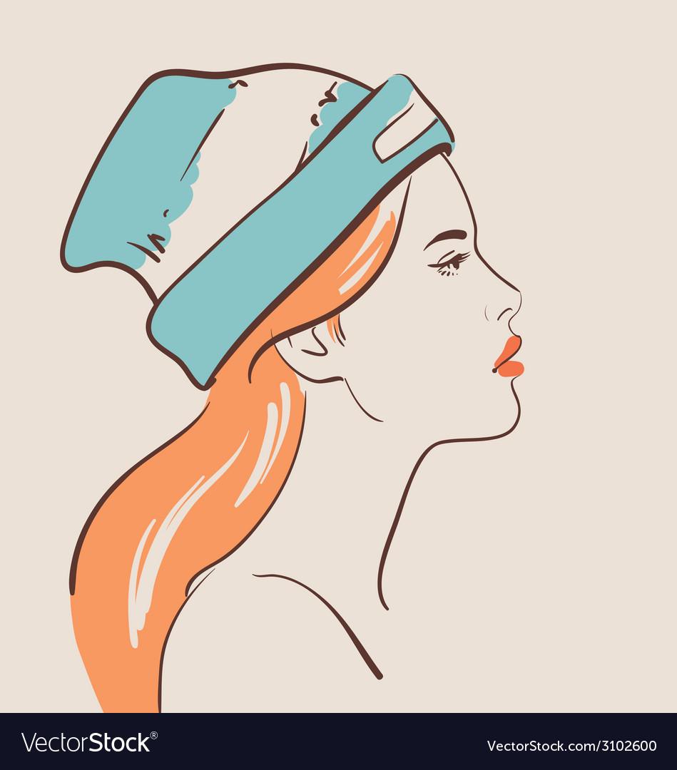 Beautiful fashion woman in hat