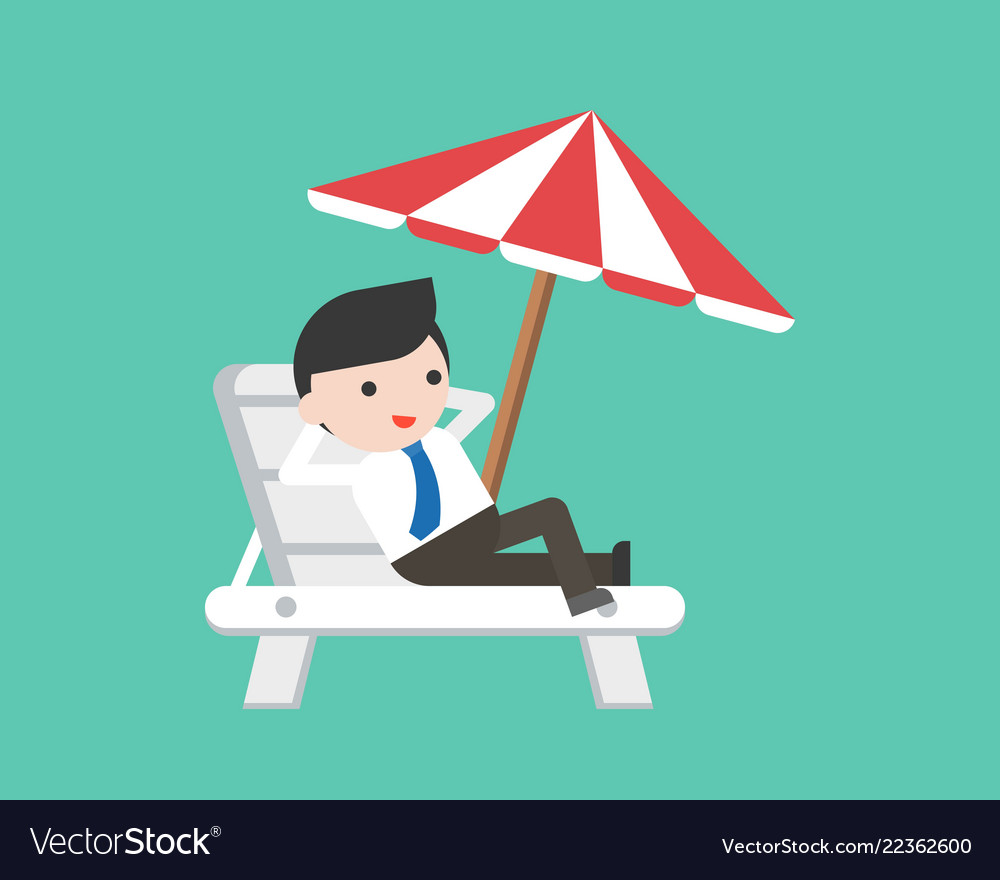 Businessman relaxing on beach chair with umbrella