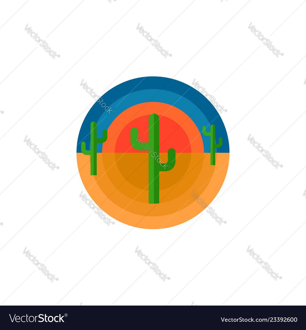 Cactus desert and sun round emblem t-shirt print