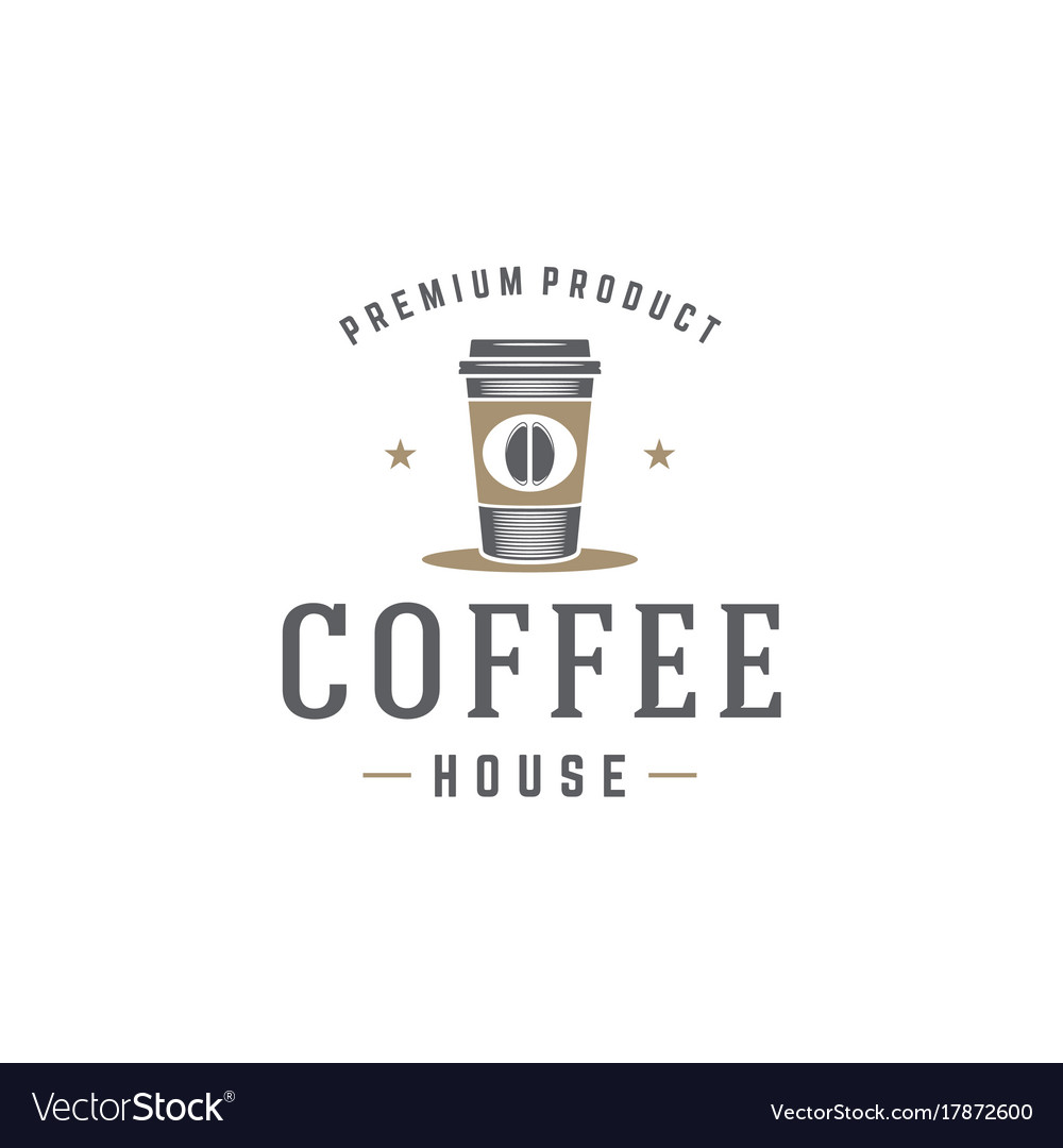 Coffee shop logo template coffee cup or tea