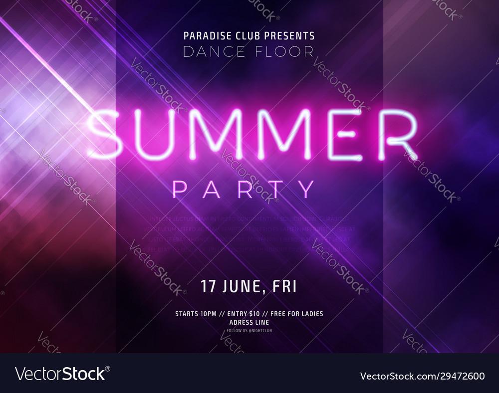 Dark purple neon party flyer with copy space