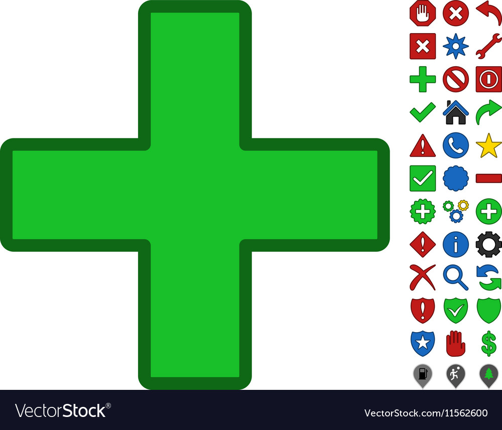 Green Plus Symbol With Toolbar Icon Set Royalty Free Vector