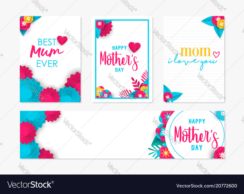 Happy mother day spring flower art card set vector image