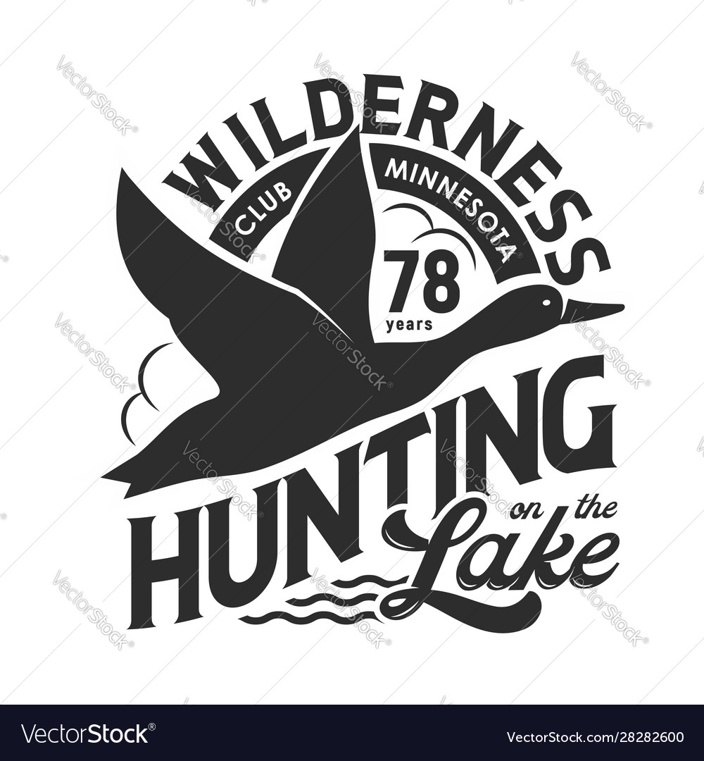 Hunting club t-shirt print flying duck above lake