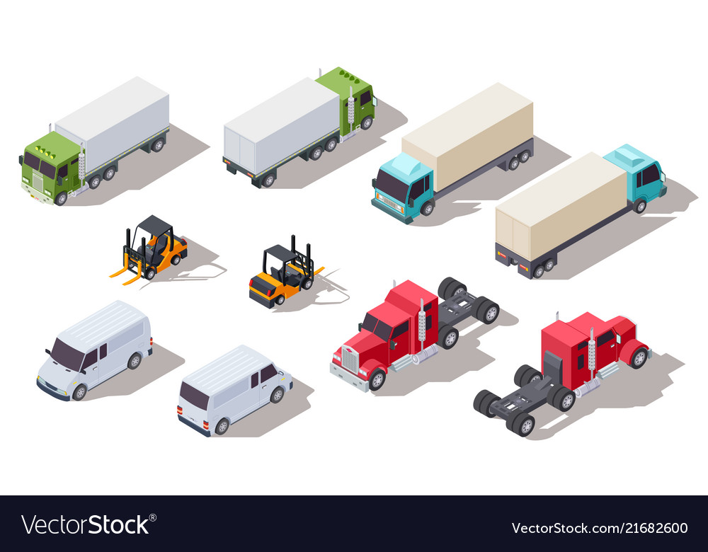 Isometric truck transportation trucks with