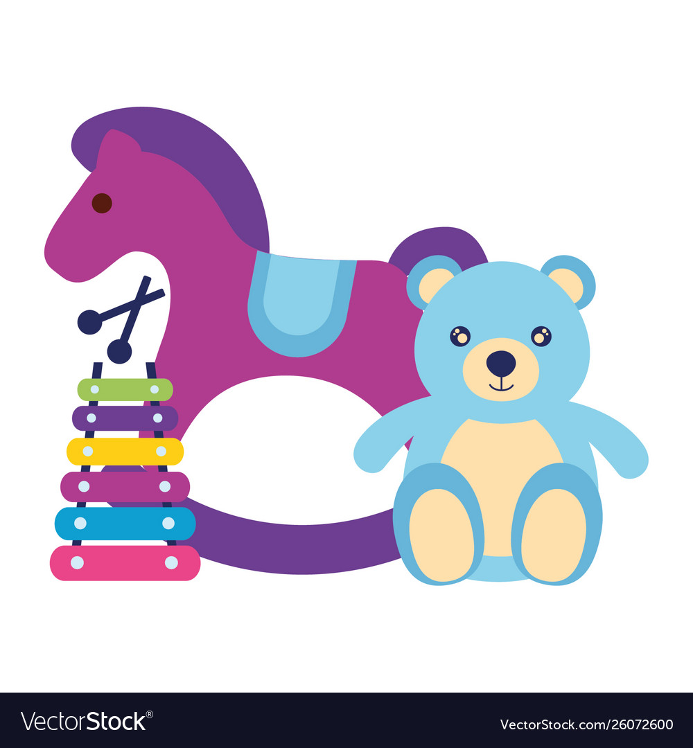 Rocking Horse Bear Xylophone Kids Toys Royalty Free Vector