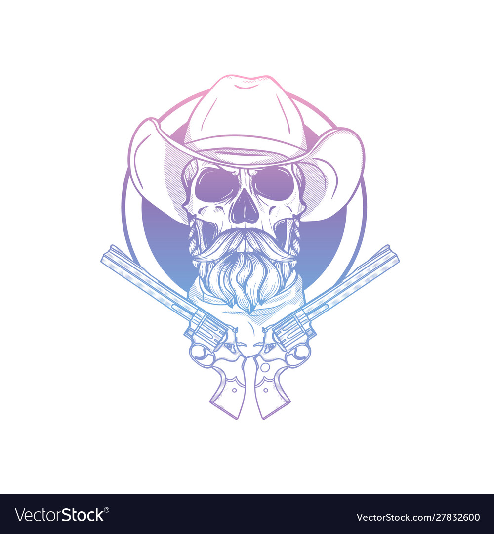 Sketch skull with cowboy hat