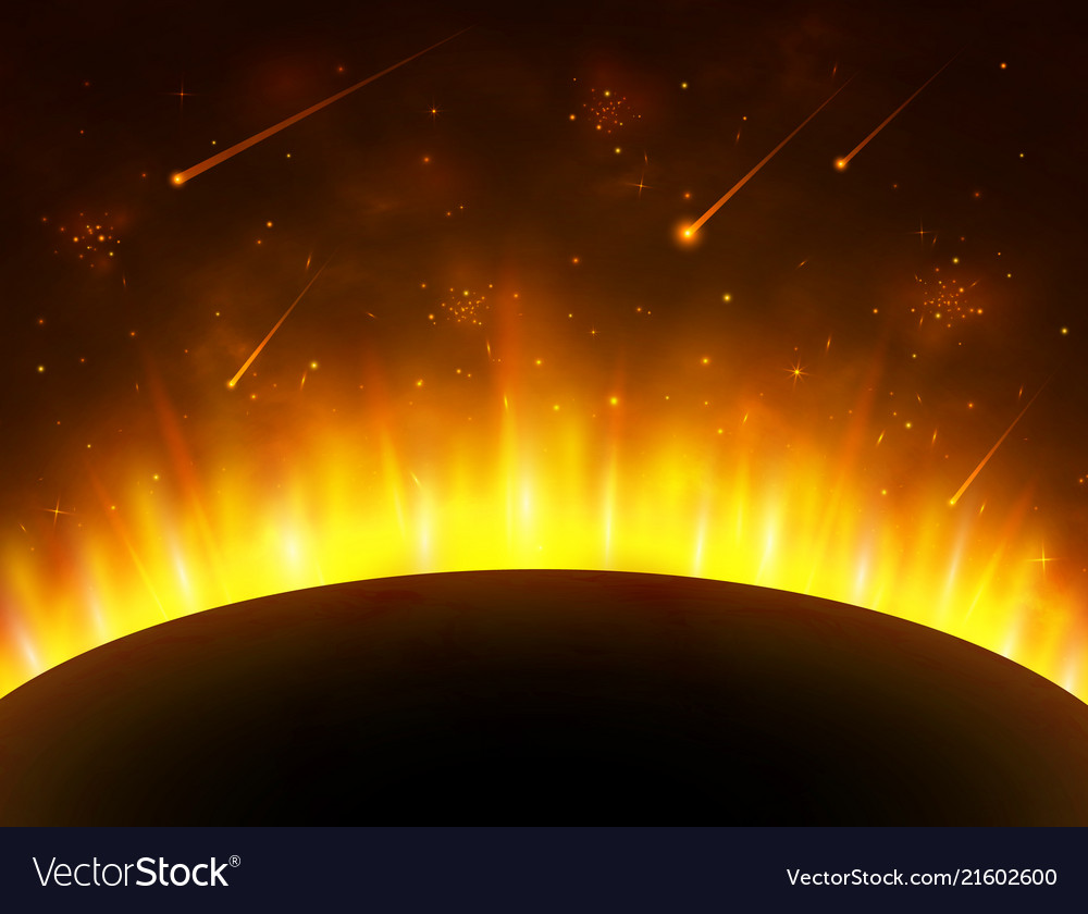 Space background with gold light sun planet
