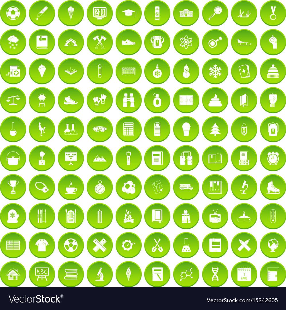 100 school years icons set green circle vector image