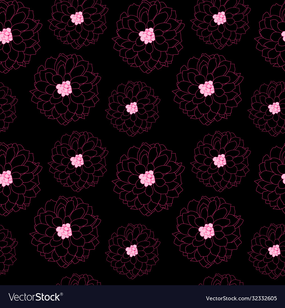 Abstract hand drawn dahlia flower seamless pattern