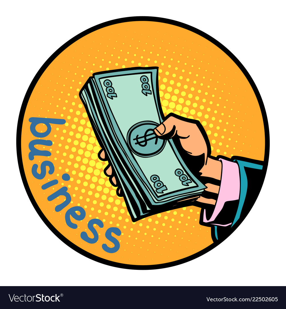 Business hand with money dollars icon symbol