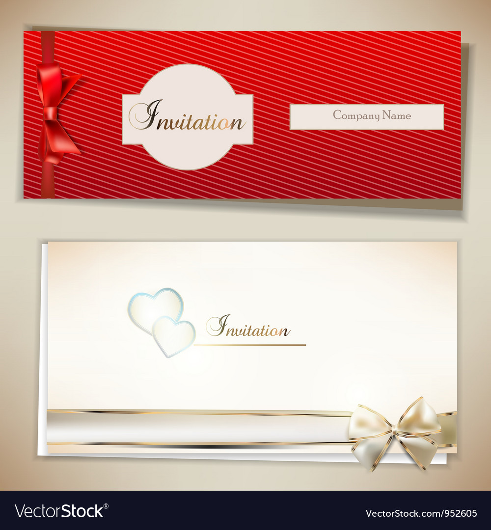 Card notes with ribbons Red and white invitations