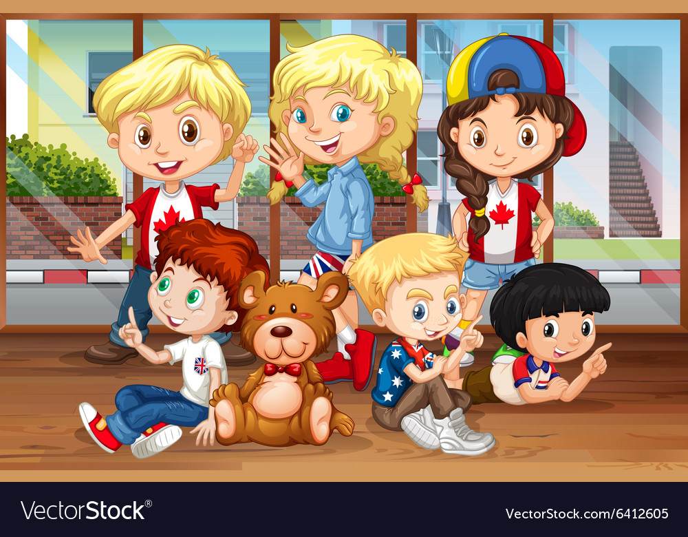 Children hanging out in the room vector image