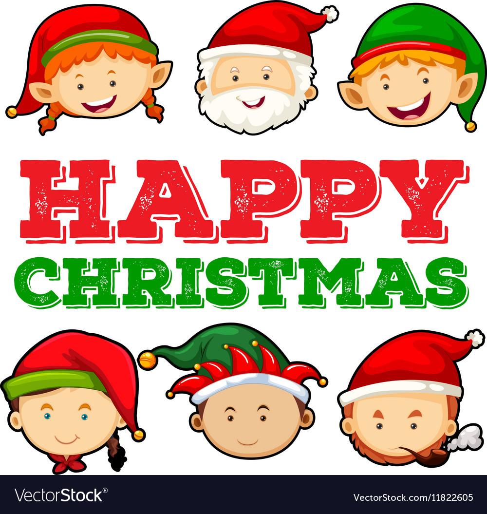 christmas card design with santa and elf vector image - Elf Christmas Card