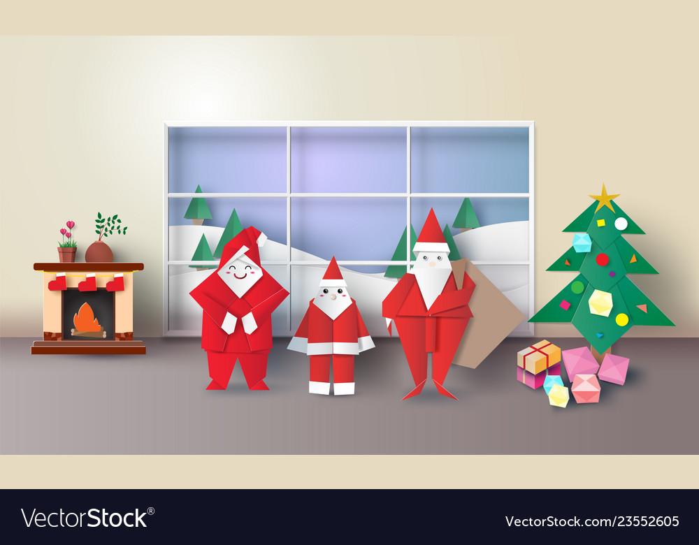 Christmas room interior with santa family