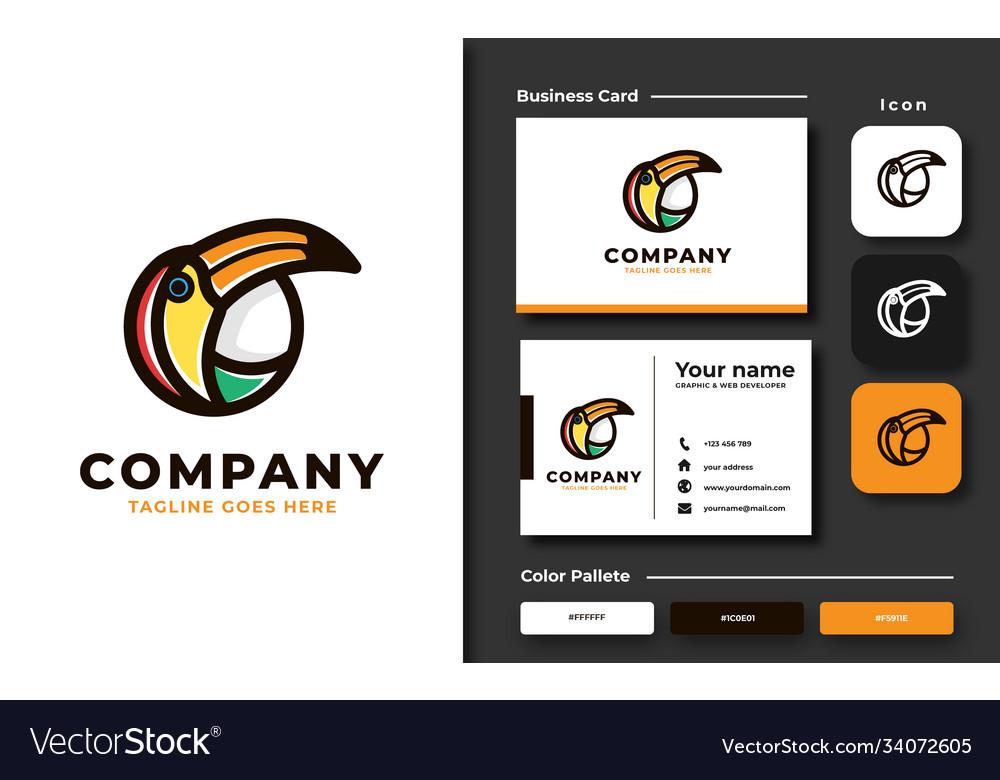 Creative professional trendy colorful toucan bird