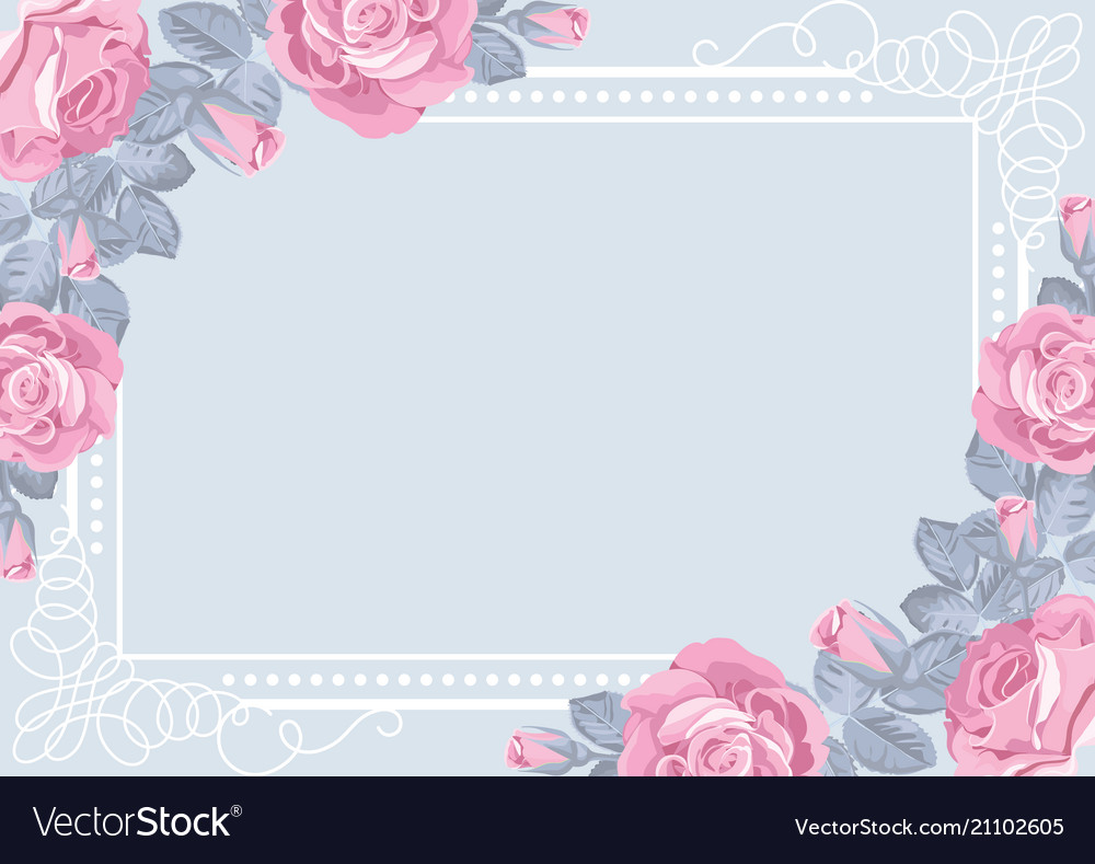 Flora card template with roses and frame