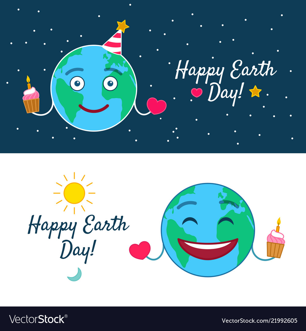 Happy earth day greeting cards set