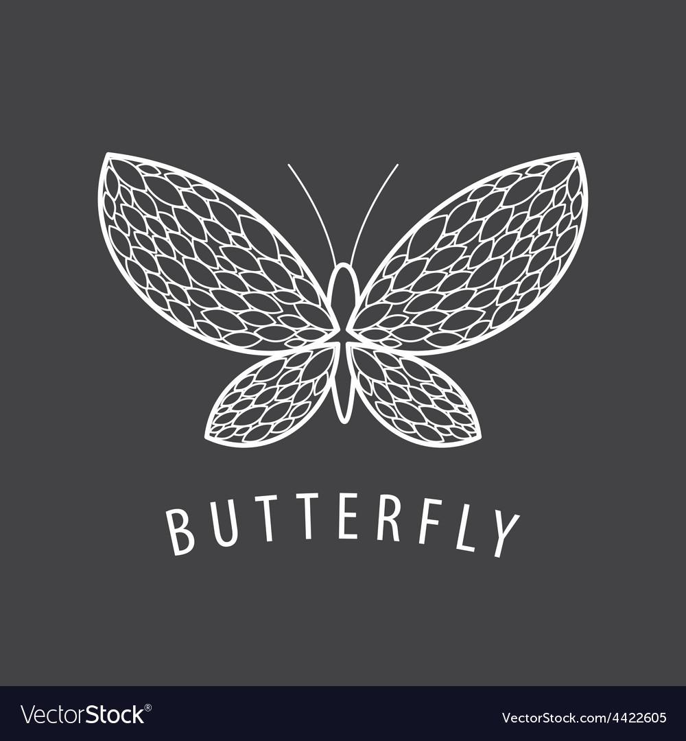 Logo elegant white butterfly petal