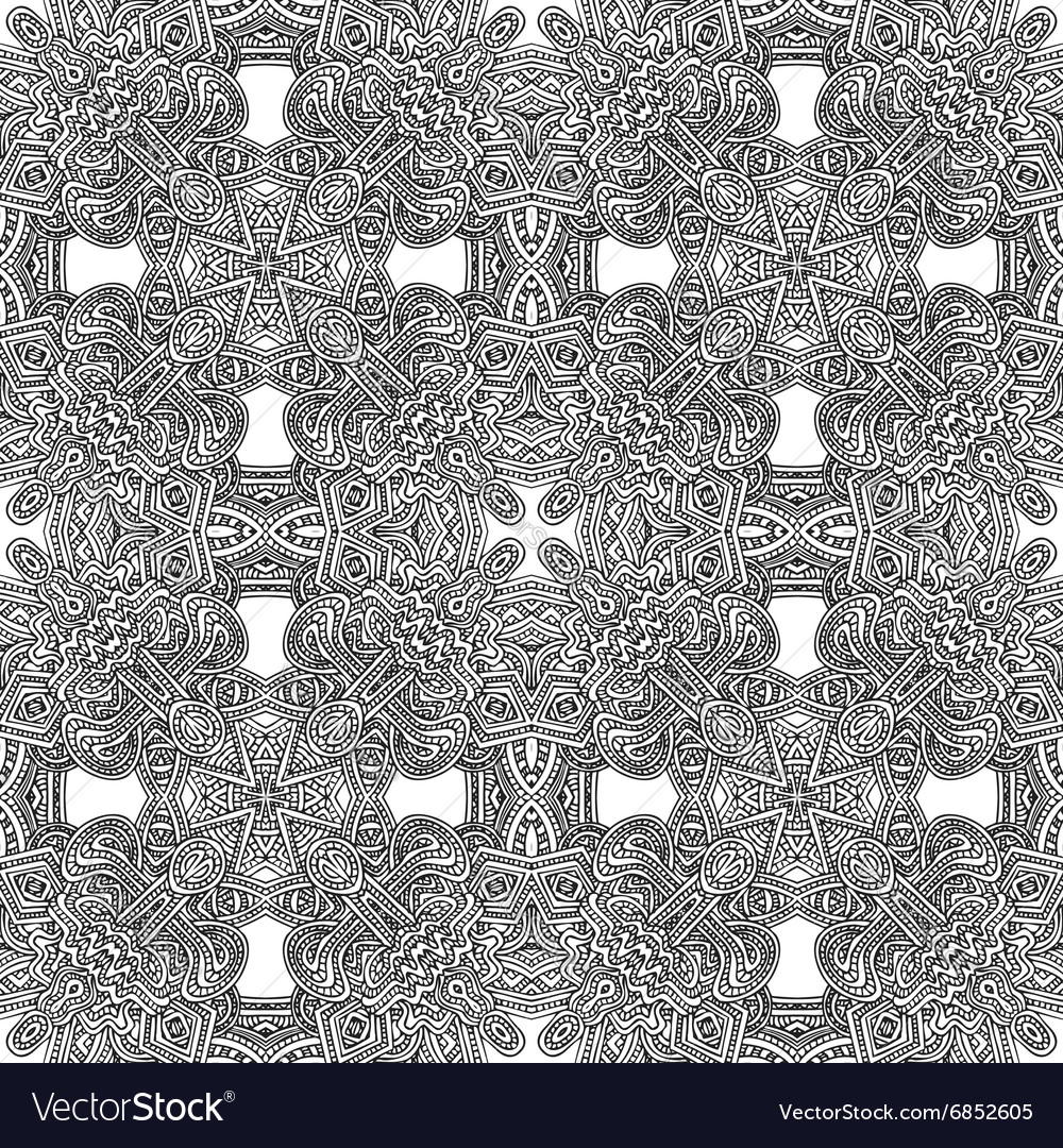 Monochrome hand drawn seamless pattern