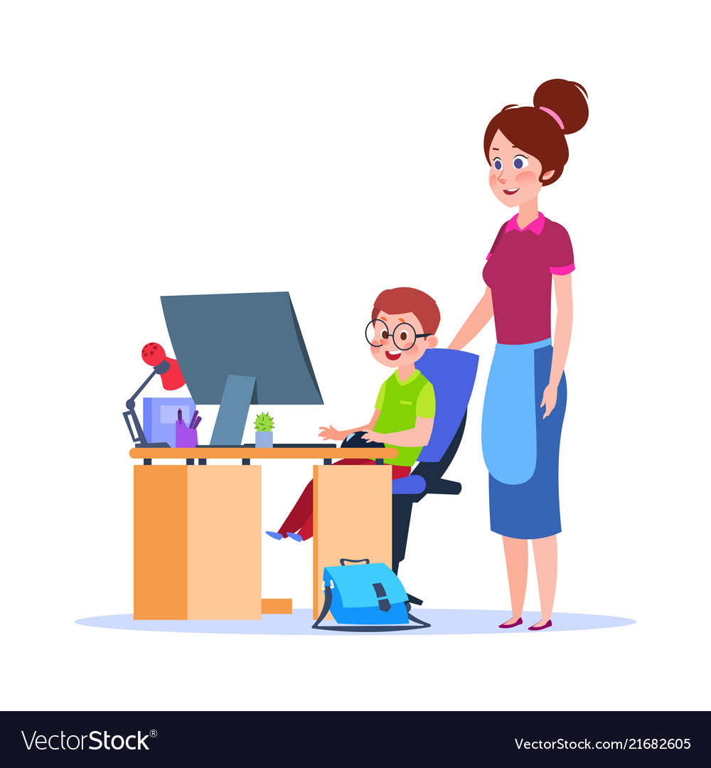 Mother and child at computer mom helping boy with