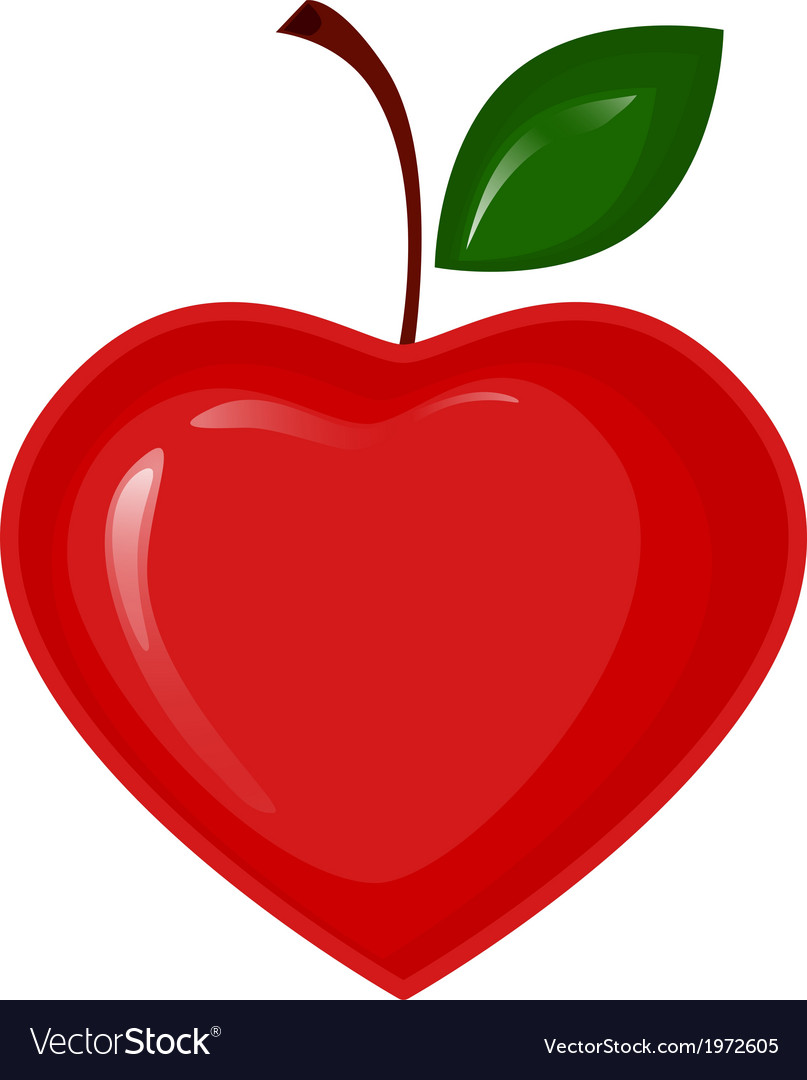 Red apple in the shape of heart vector image
