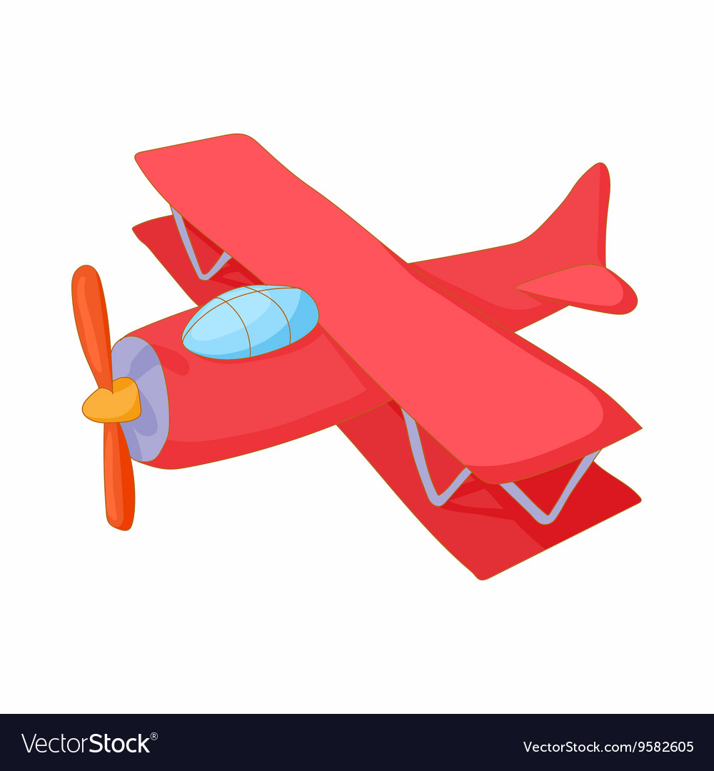 Red biplane icon cartoon style