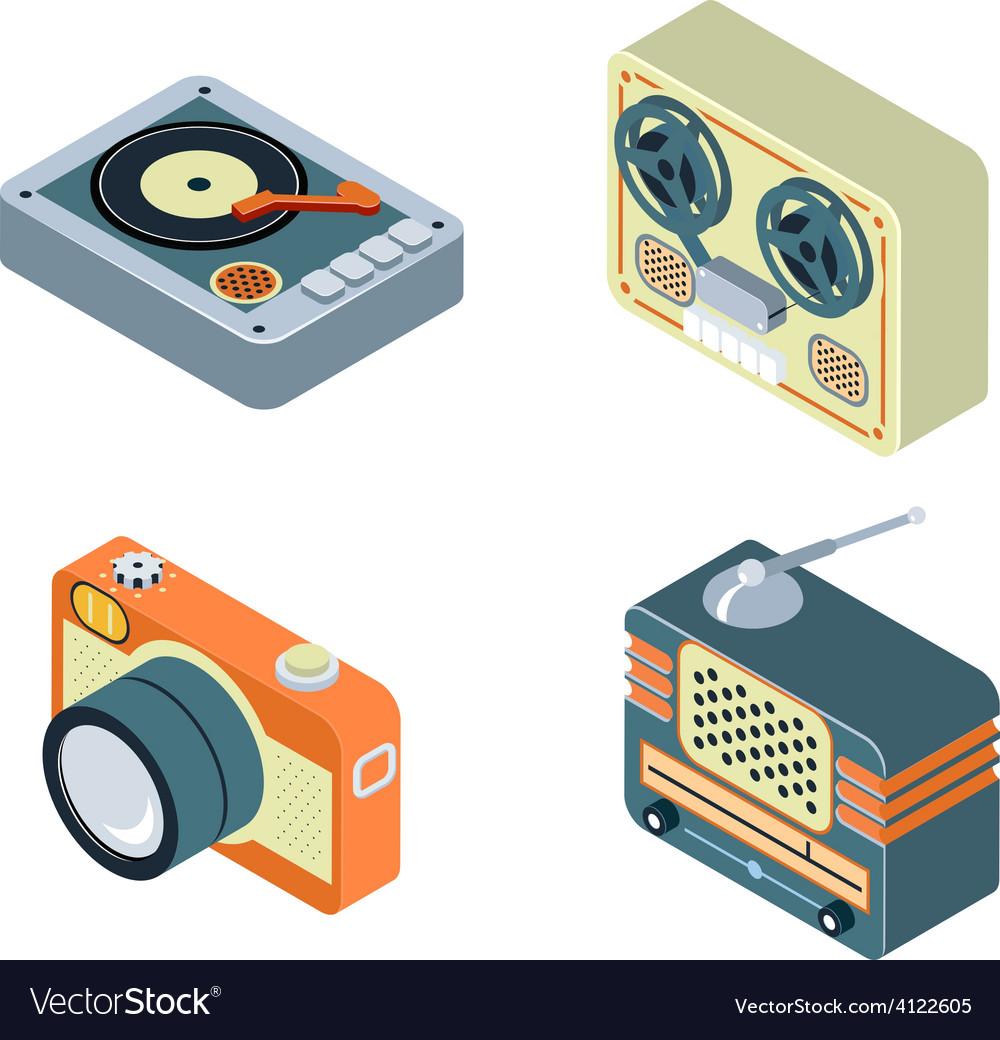 Retro media Radio reel tape recorder turntable vector image