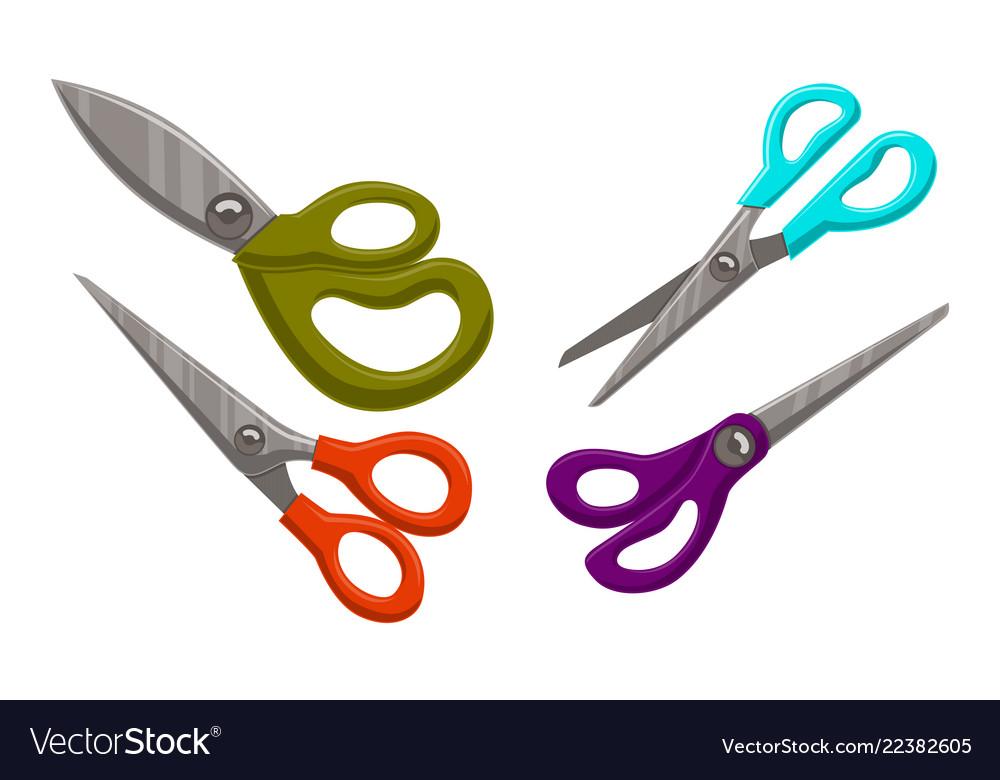 scissor template set color royalty free vector image