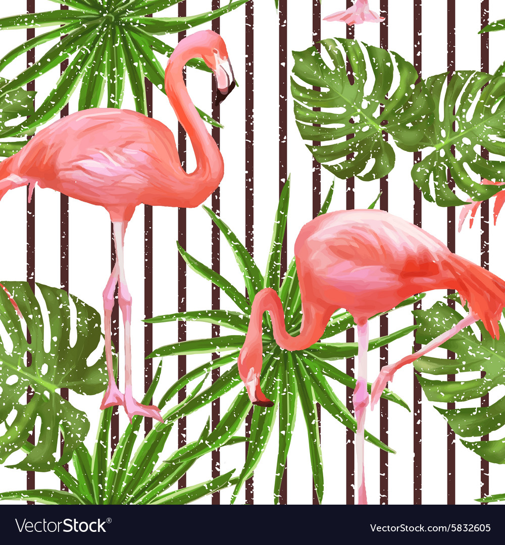 Seamless pattern with flamingo birds and palm