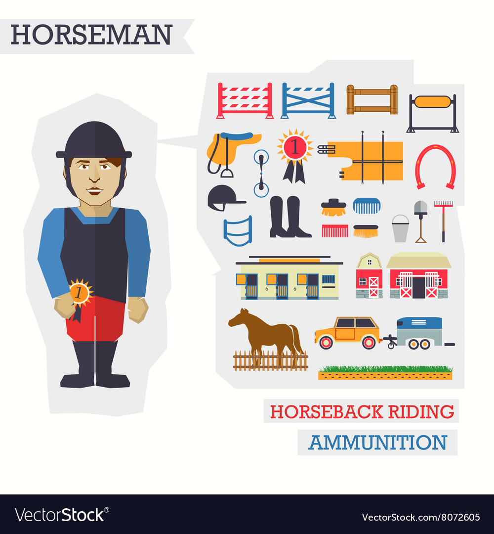 Set of elements for horseback riding with horseman vector image
