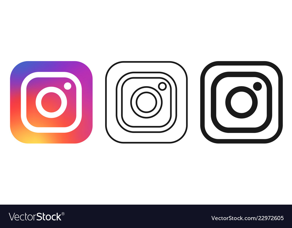 Social media icon set for instagram in different