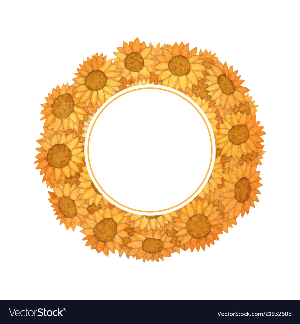 Sunflower ball watercolor wreath banner card