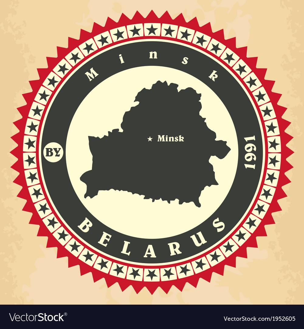 Vintage label-sticker cards of Belarus vector image