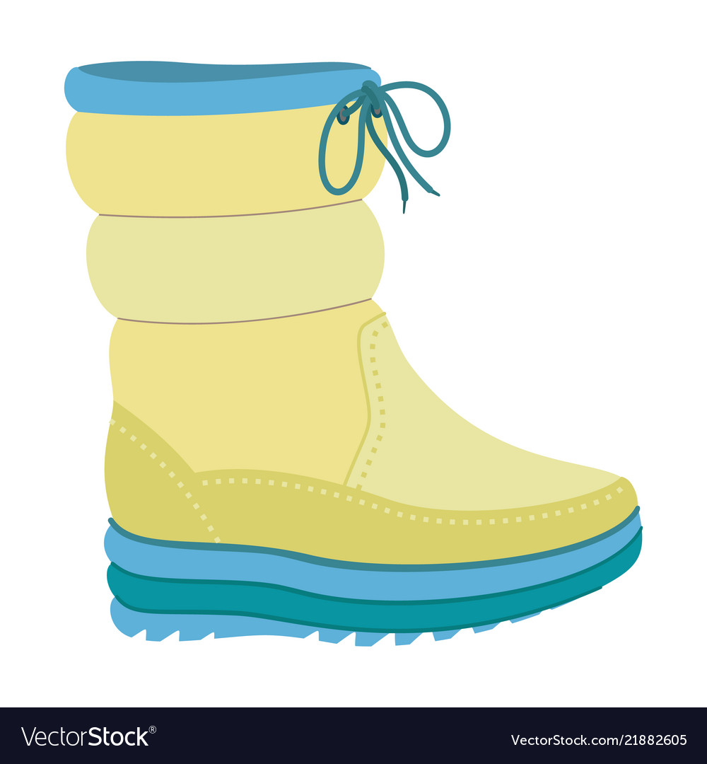 Winter warm boot icon flat style
