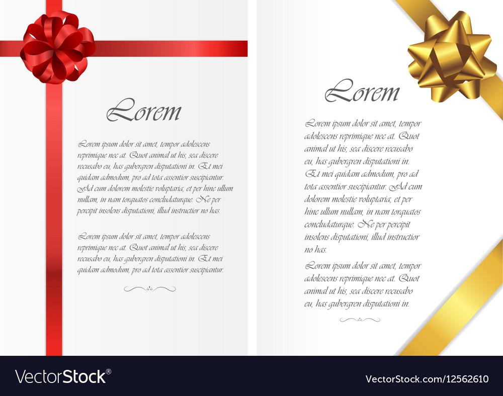 Card templates with text and colored ribbons