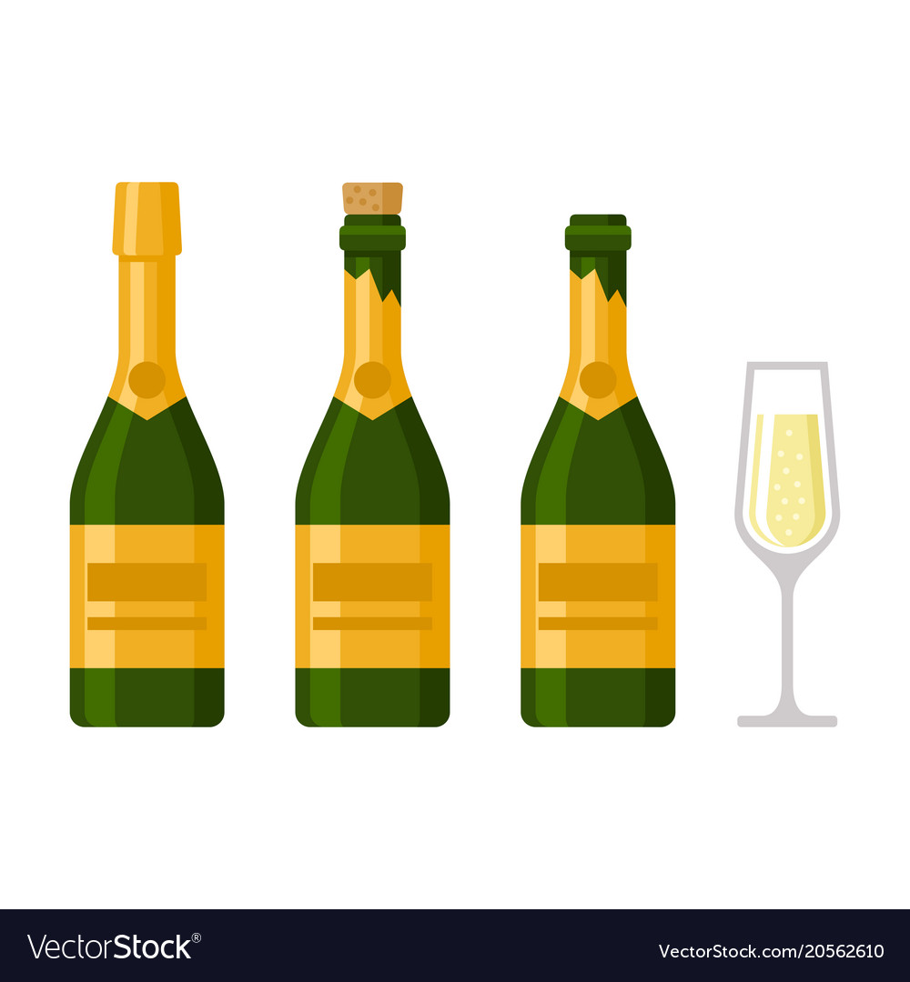 Champagne bottles set on white background