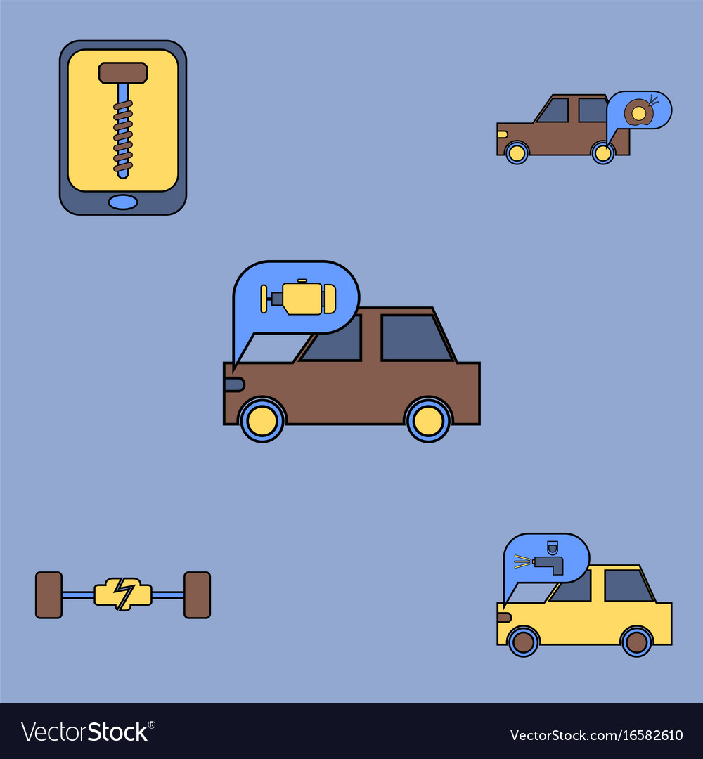 Collection of icons and vehicle parts
