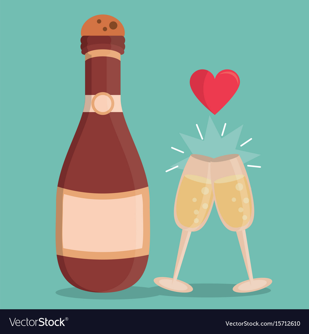 Color background with champagne bottle and