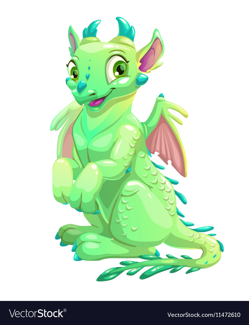 Cute friendly sitting green dragon