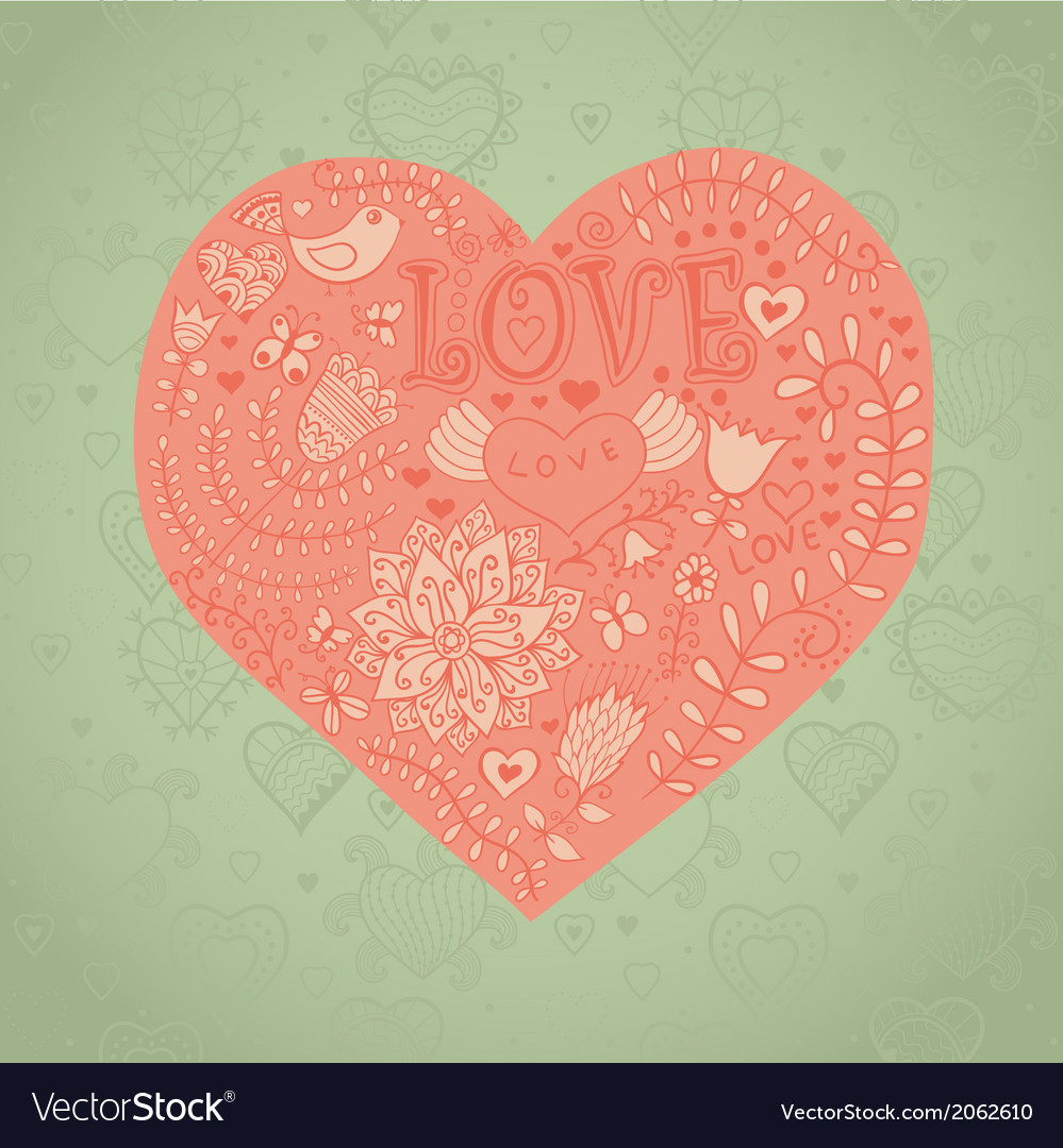 Floral heart heart made flowersdoodle heart