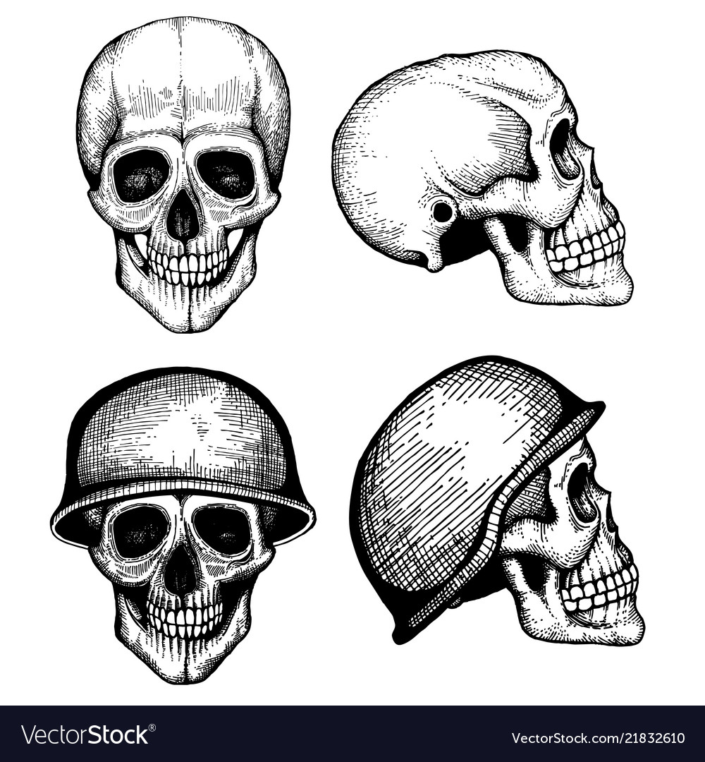 Hand drawn death scary human skulls
