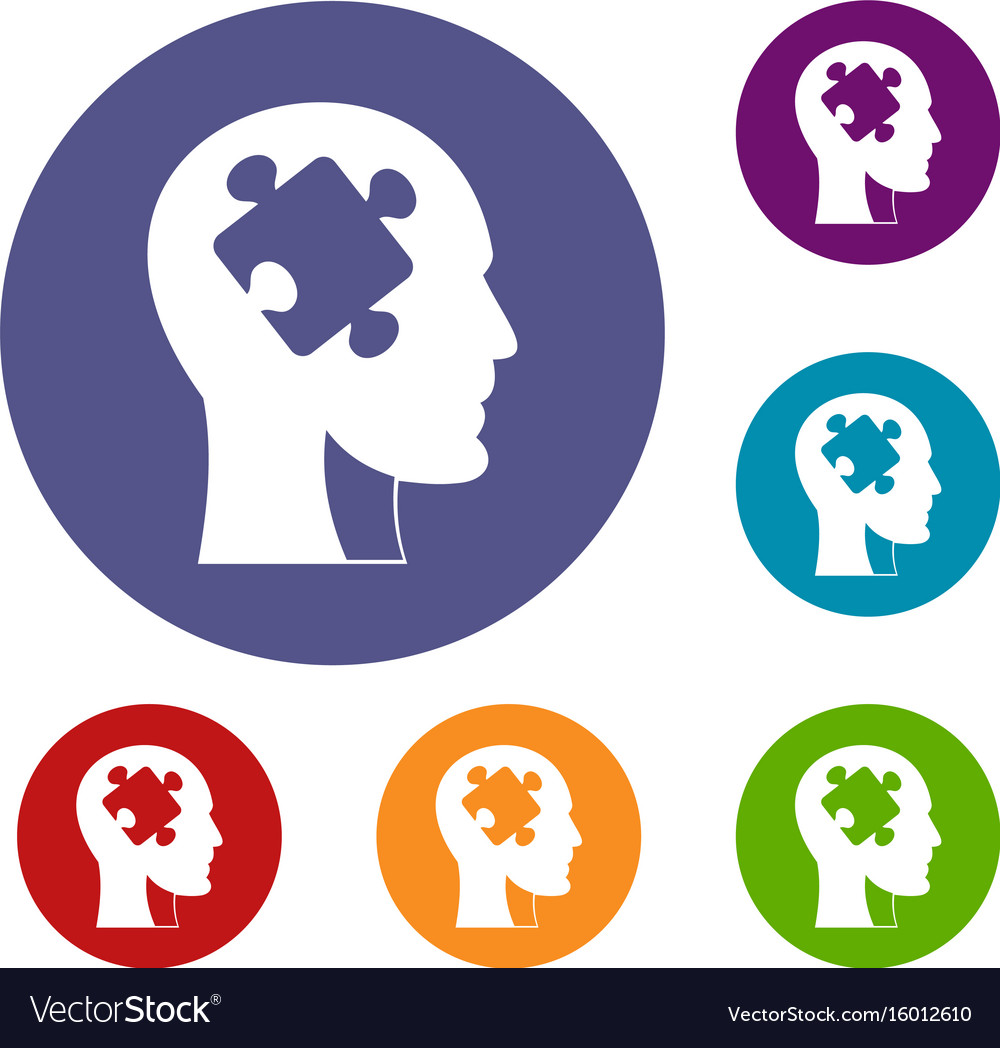 Head with puzzle icons set