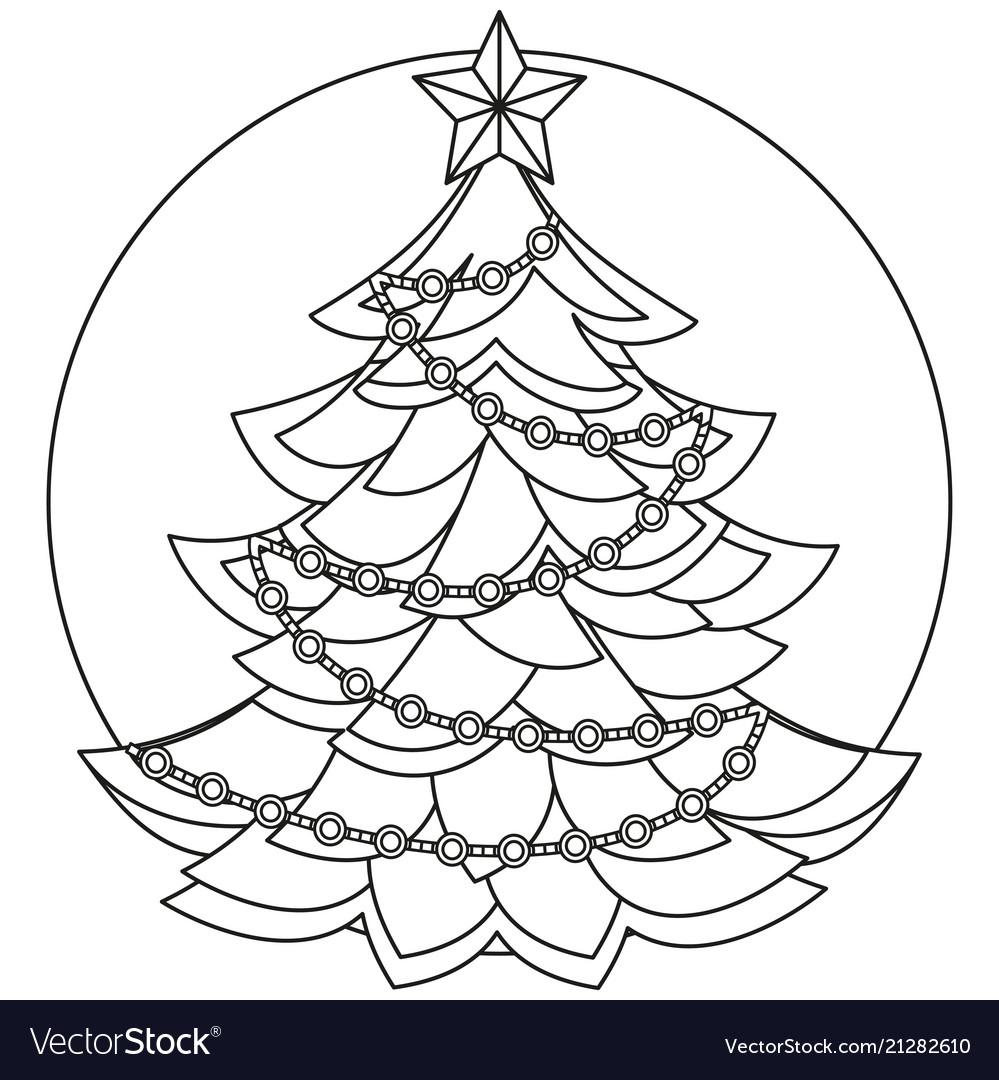 Line Art Black And White Christmas Tree