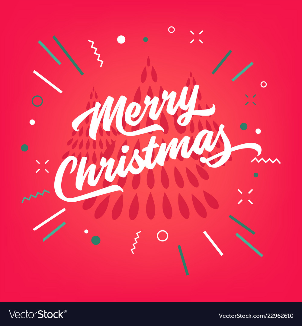 Merry christmas calligraphy on red background