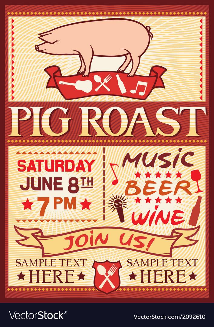 pig roast poster royalty free vector image vectorstock