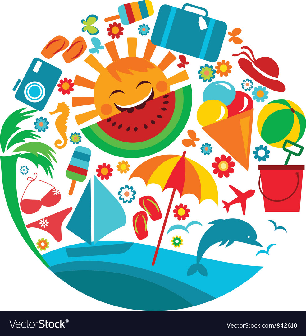 summer vacation template of summer icons vector image vectorstock
