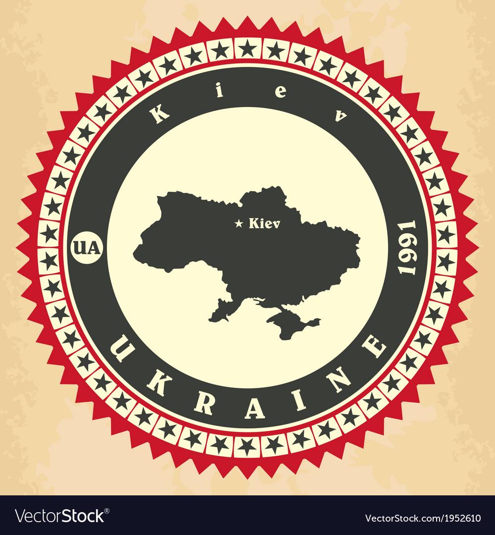 Vintage label-sticker cards of Ukraine vector image