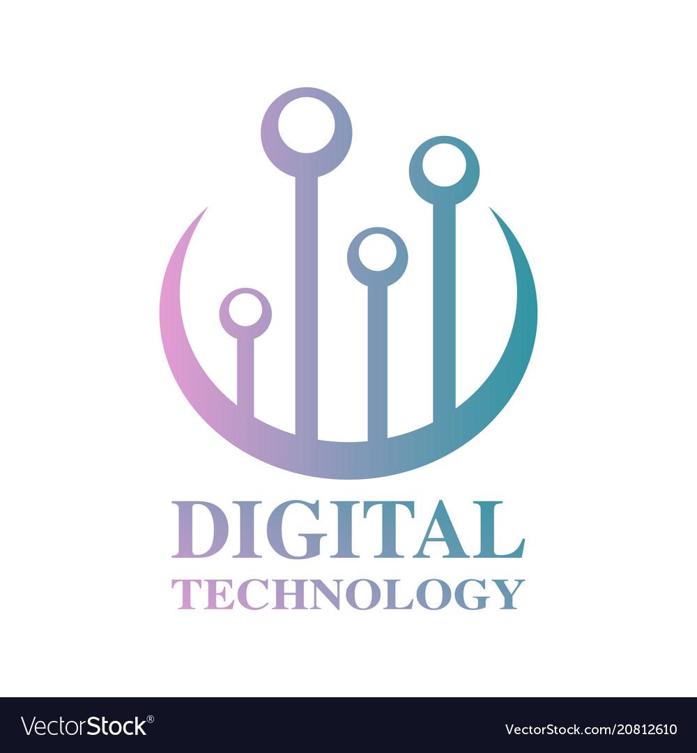 World tech logo design template digital
