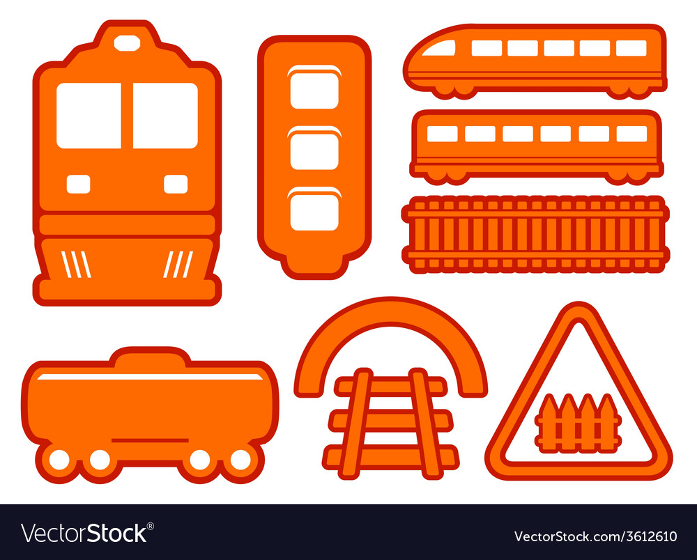 Yellow rail road icons set vector image